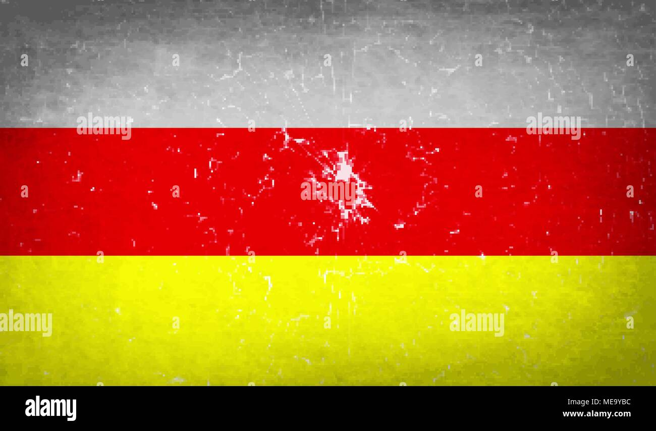 Flags of North Ossetia with broken glass texture. Vector illustration - Stock Image