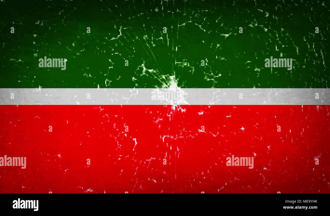 Flags of Tatarstan with broken glass texture. Vector illustration - Stock Image