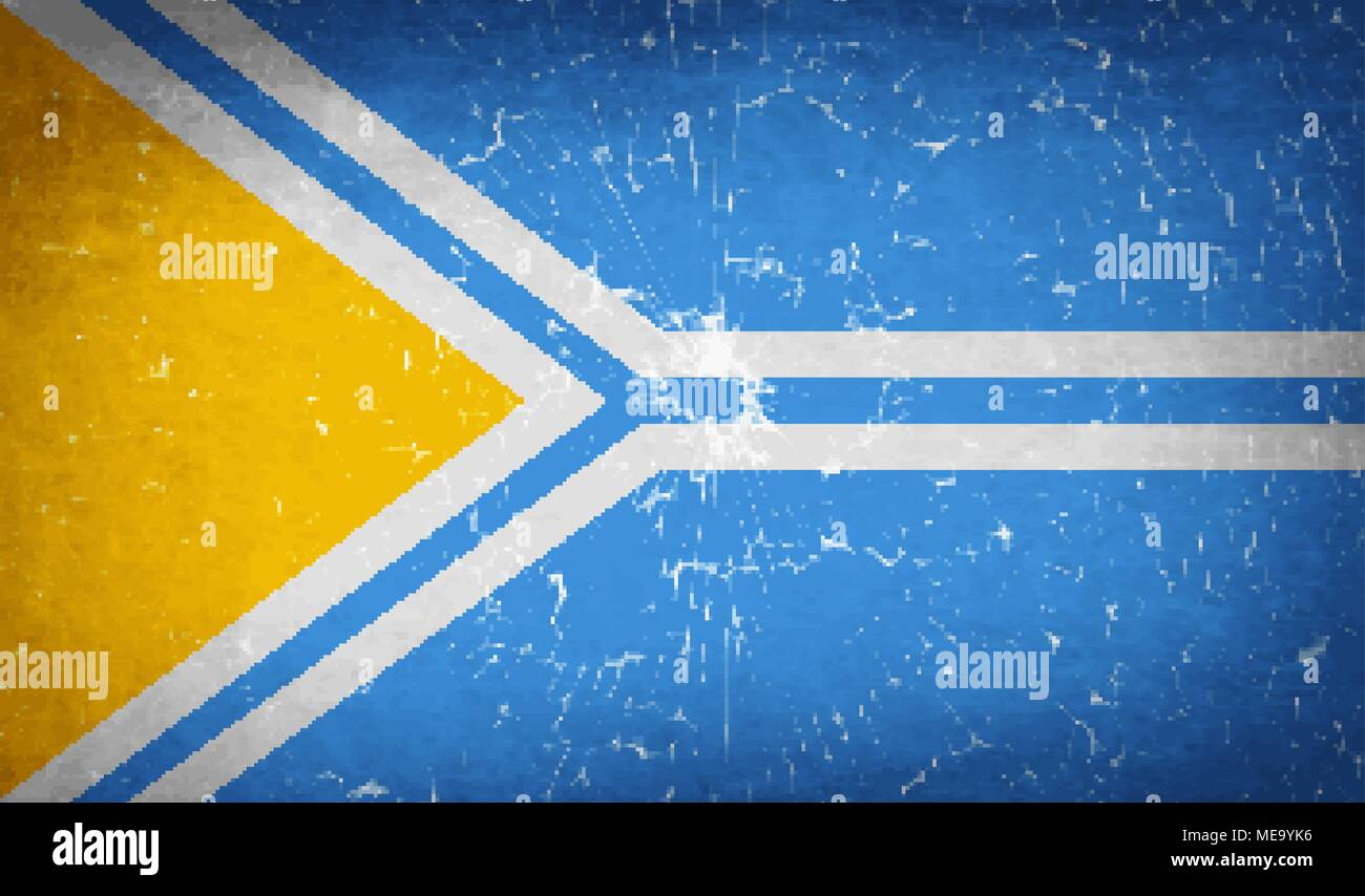 Flags of Tuva with broken glass texture. Vector illustration - Stock Image