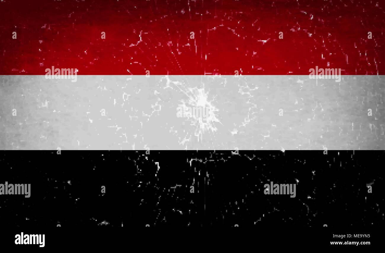Flags of Yemen with broken glass texture. Vector illustration - Stock Vector