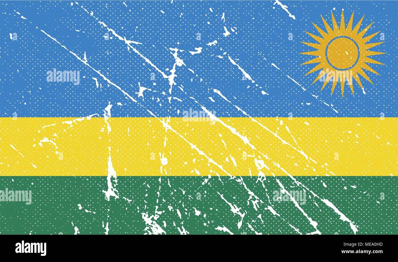 Flag of Rwanda with old texture. Vector illustration - Stock Vector