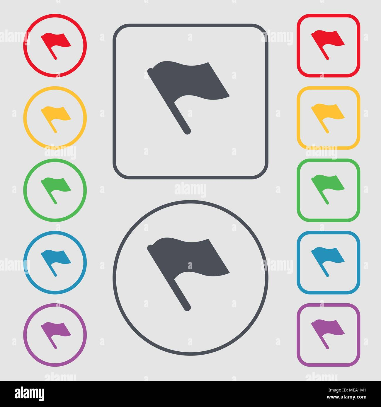 Finish, start flag icon sign. symbol on the Round and square buttons ...