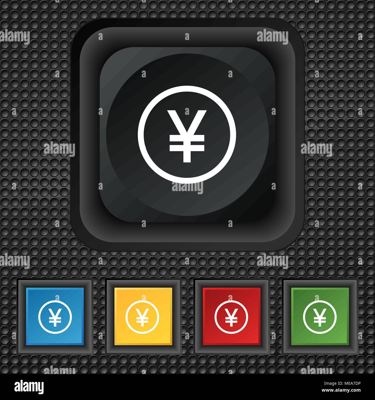 Japanese Yuan Icon Sign Symbol Squared Colourful Buttons On Black