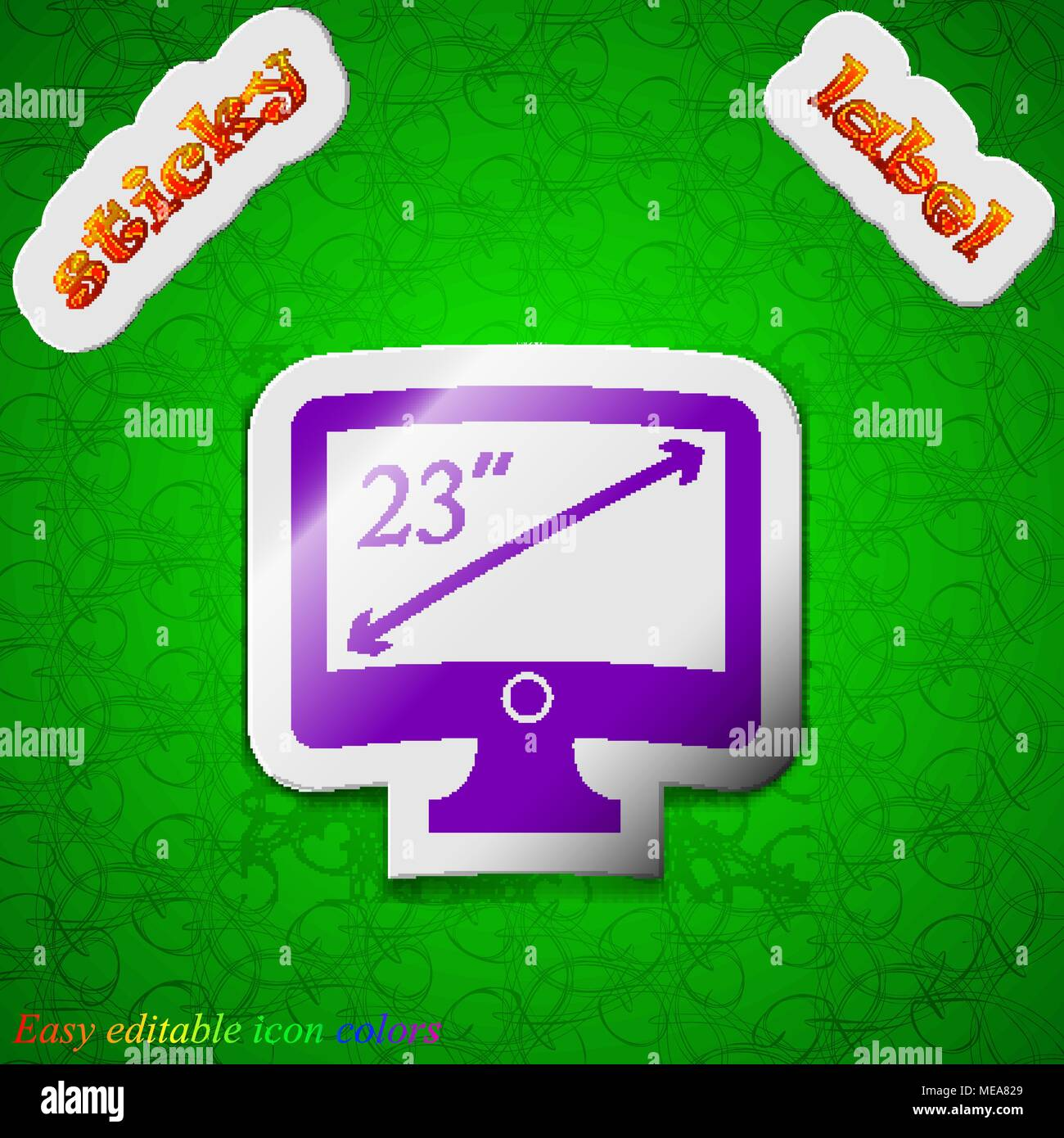 diagonal of the monitor 23 inches icon sign. Symbol chic colored sticky label on green background. Vector illustration - Stock Vector