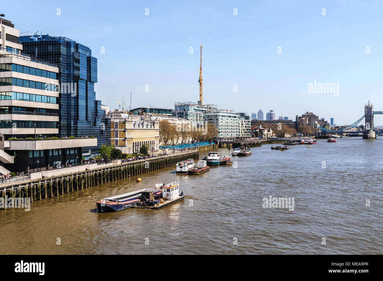 Port of London Authority vessel Driftwood III used for passive driftwood collection (PDC) moored in the River Thames Pool of London, UK - Stock Image