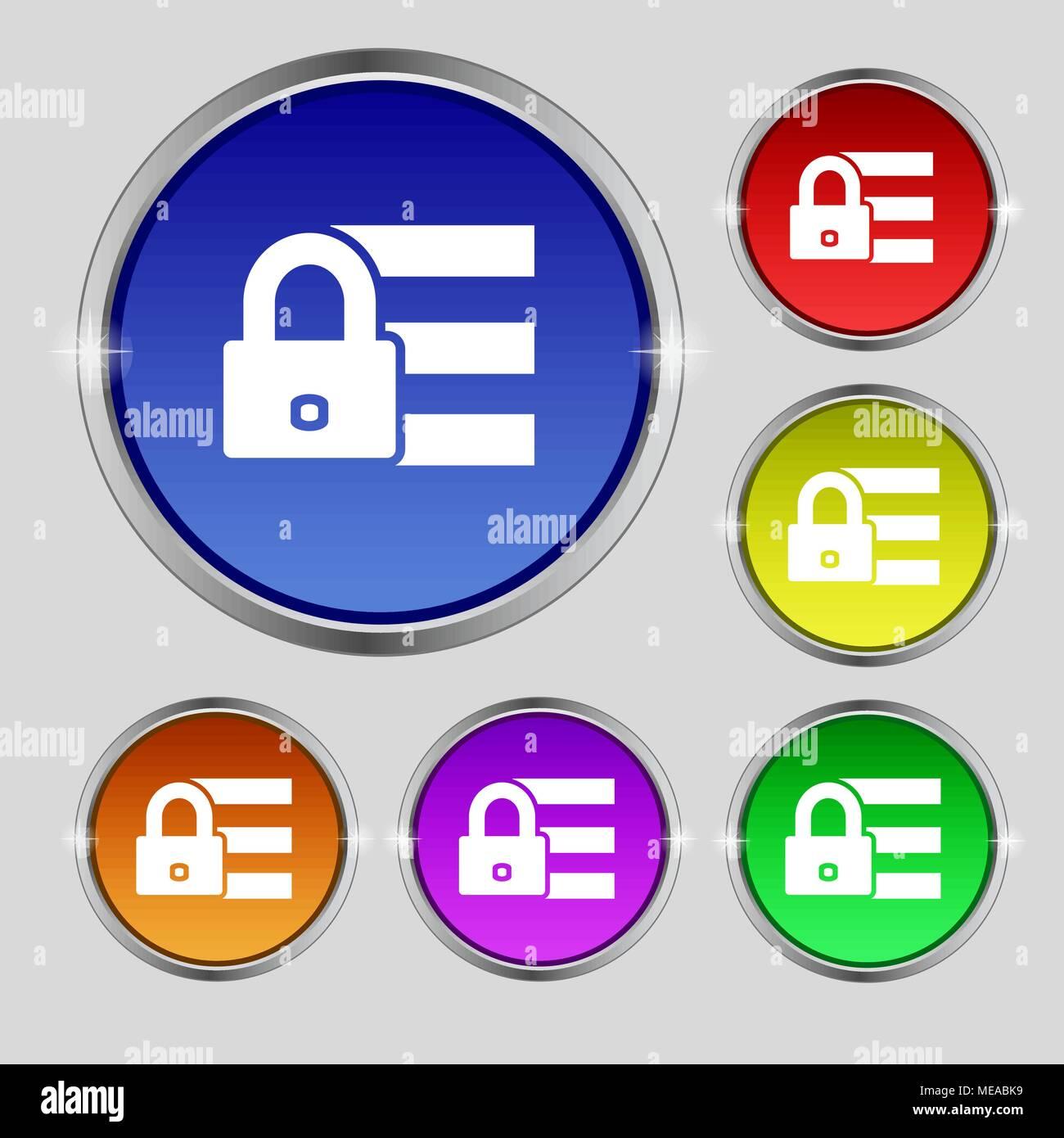 Lock, login icon sign  Round symbol on bright colourful