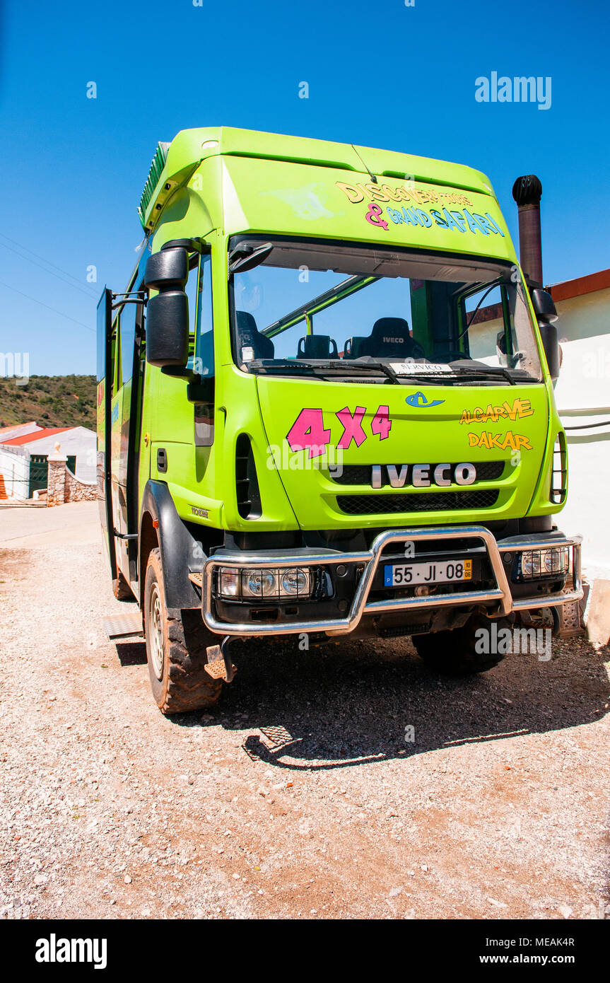 Green Iveco 110E22 four wheel drive truck used as a tourist grand jeep, Algarve, Portugal. - Stock Image