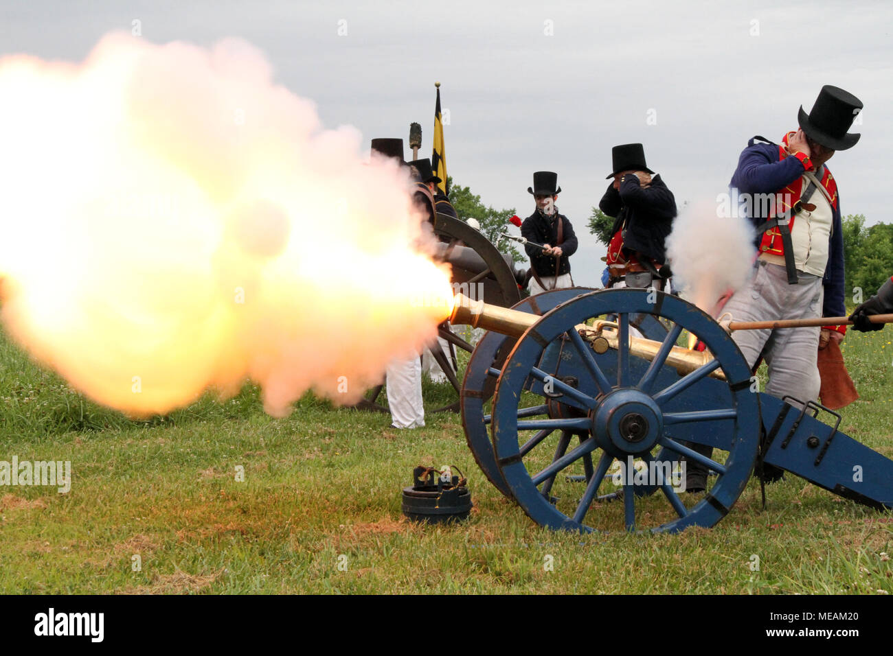 Smoke and fire of cannon firing during War of 1812 reenactment