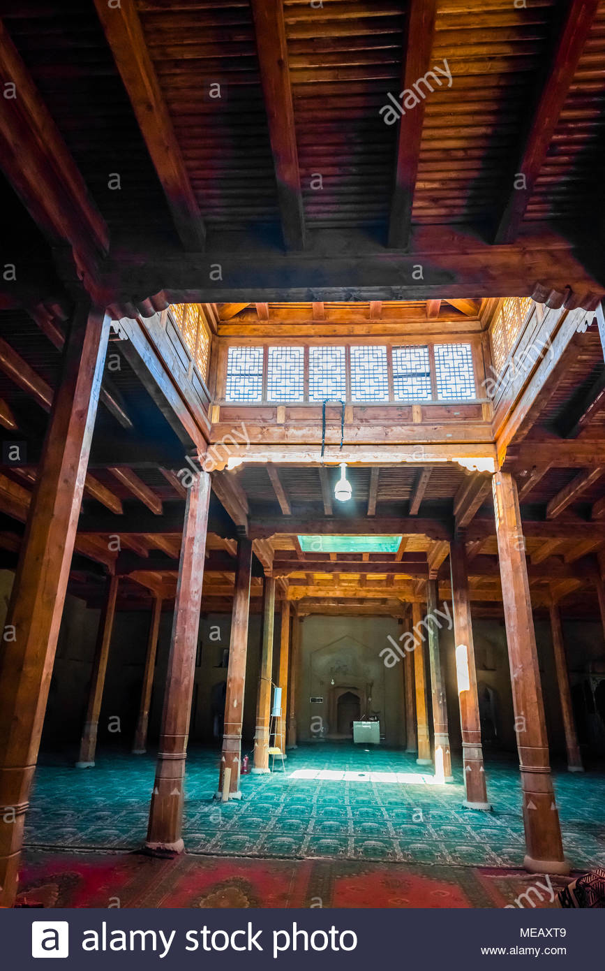 Interior view of the Uyghur mosque and Emin minaret, Turpan, Xinjiang Province, China. The minaret was built in 1777 is a 141 foot conical tower. Turp - Stock Image