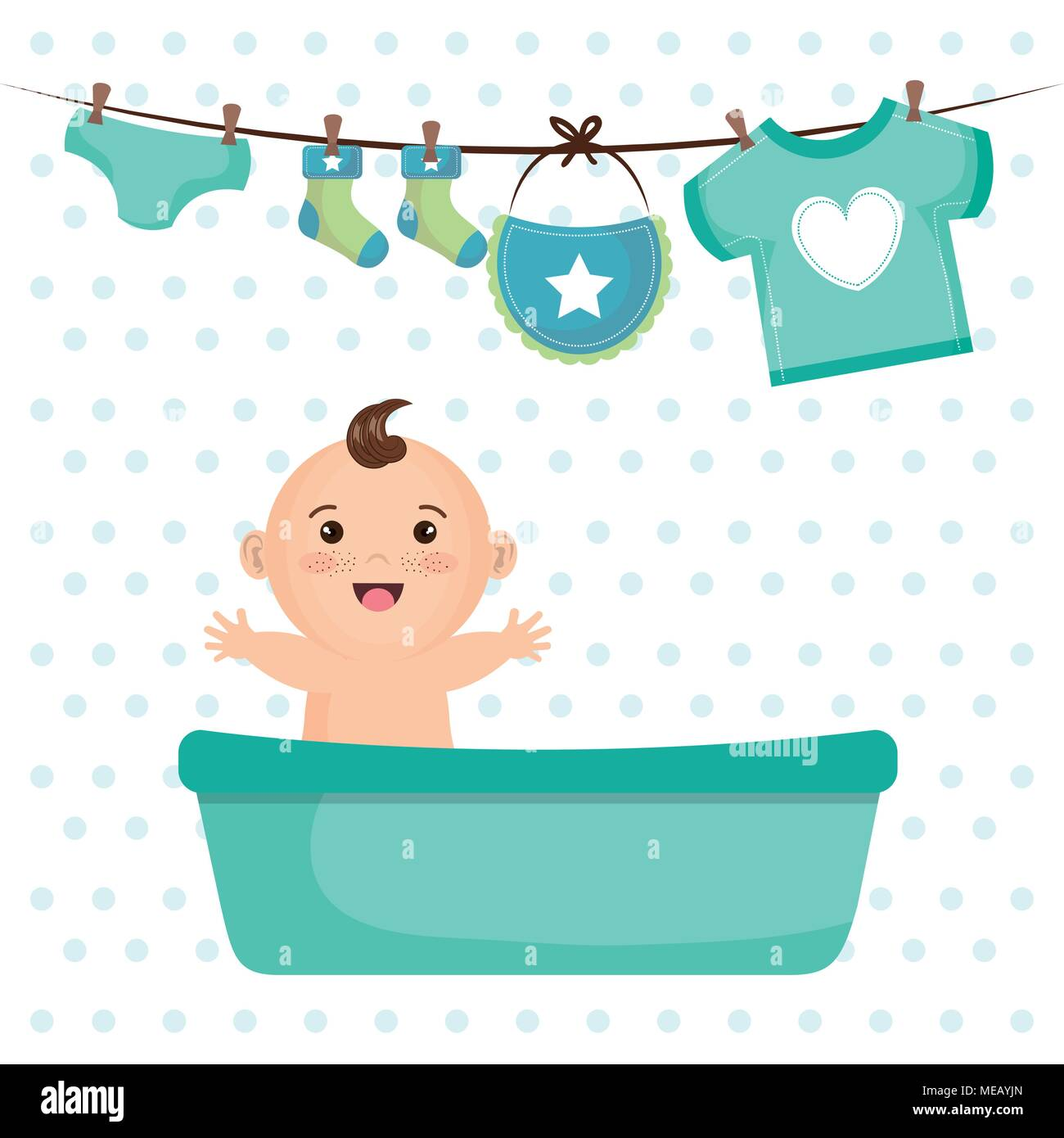 Baby Shower Card With Little Boy Vector Illustration Design Stock