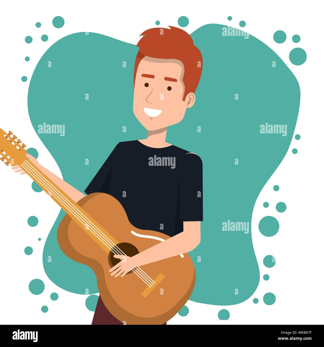 Music Festival Live With Man Playing Acoustic Guitar Vector