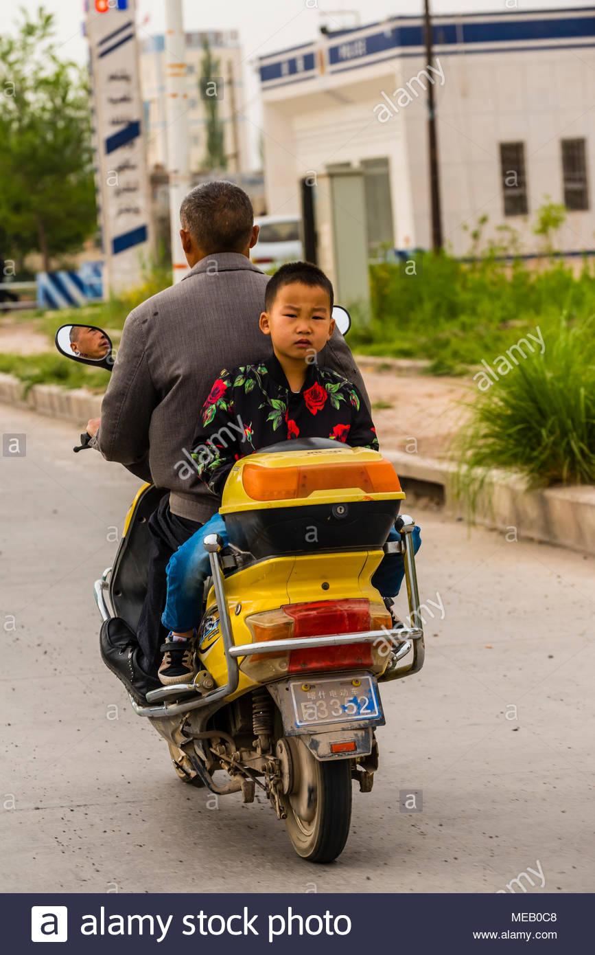 Mature riding backwards