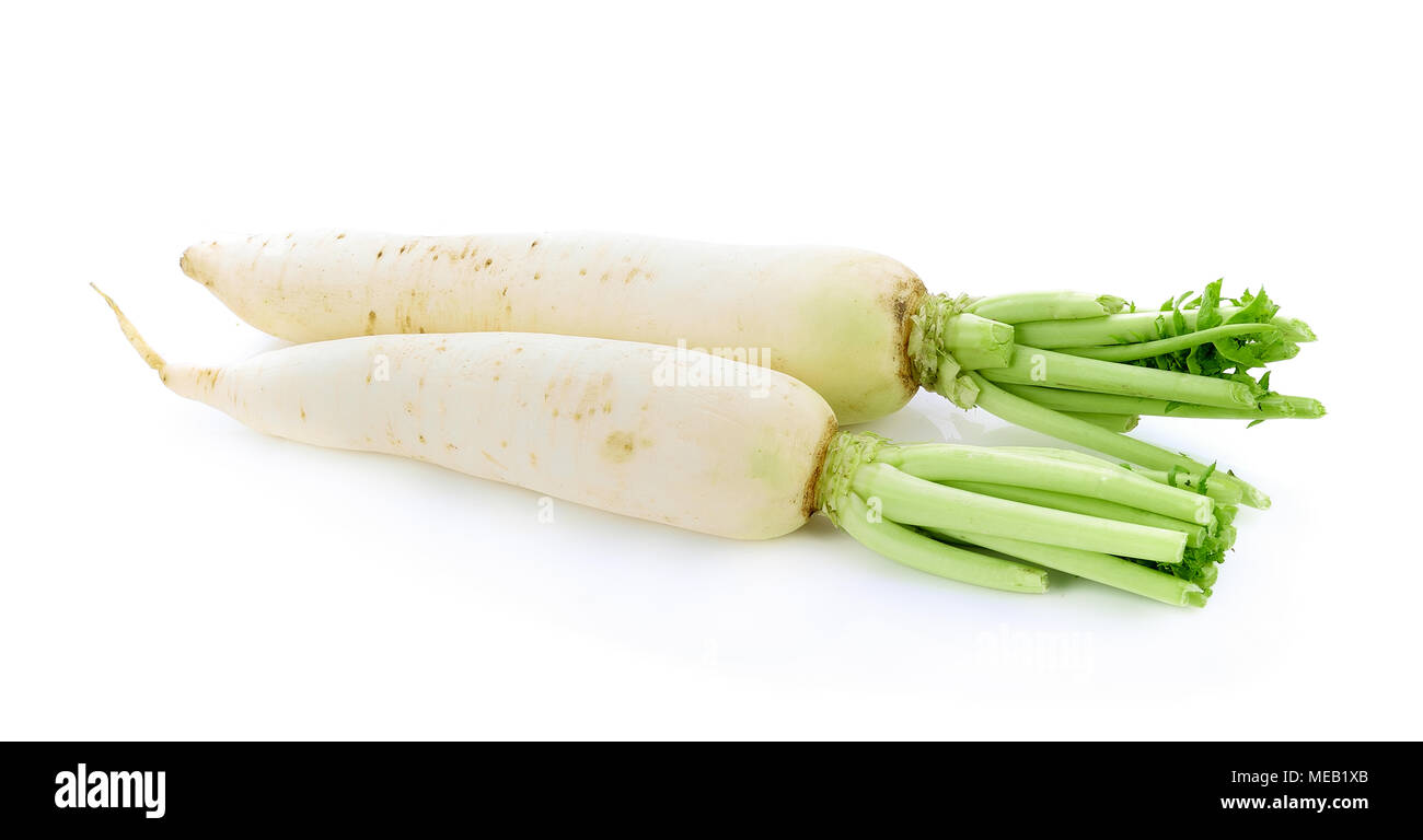 Daikon radishes isolated on white background - Stock Image