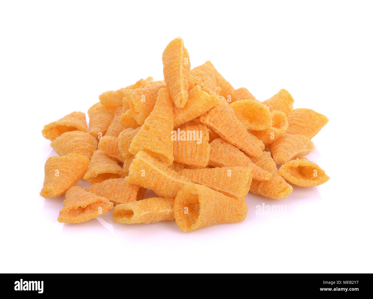 corn snacks on a white background - Stock Image