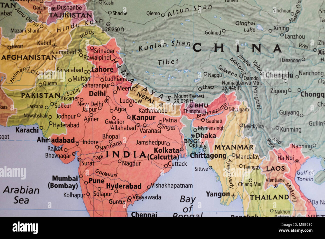Map Of China And India A map showing China and India Stock Photo: 180955264   Alamy