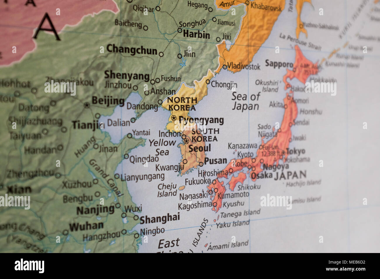 Map Of Asia Korean Peninsula.A Map Of East Asia With The Korean Peninsula In The Center Stock