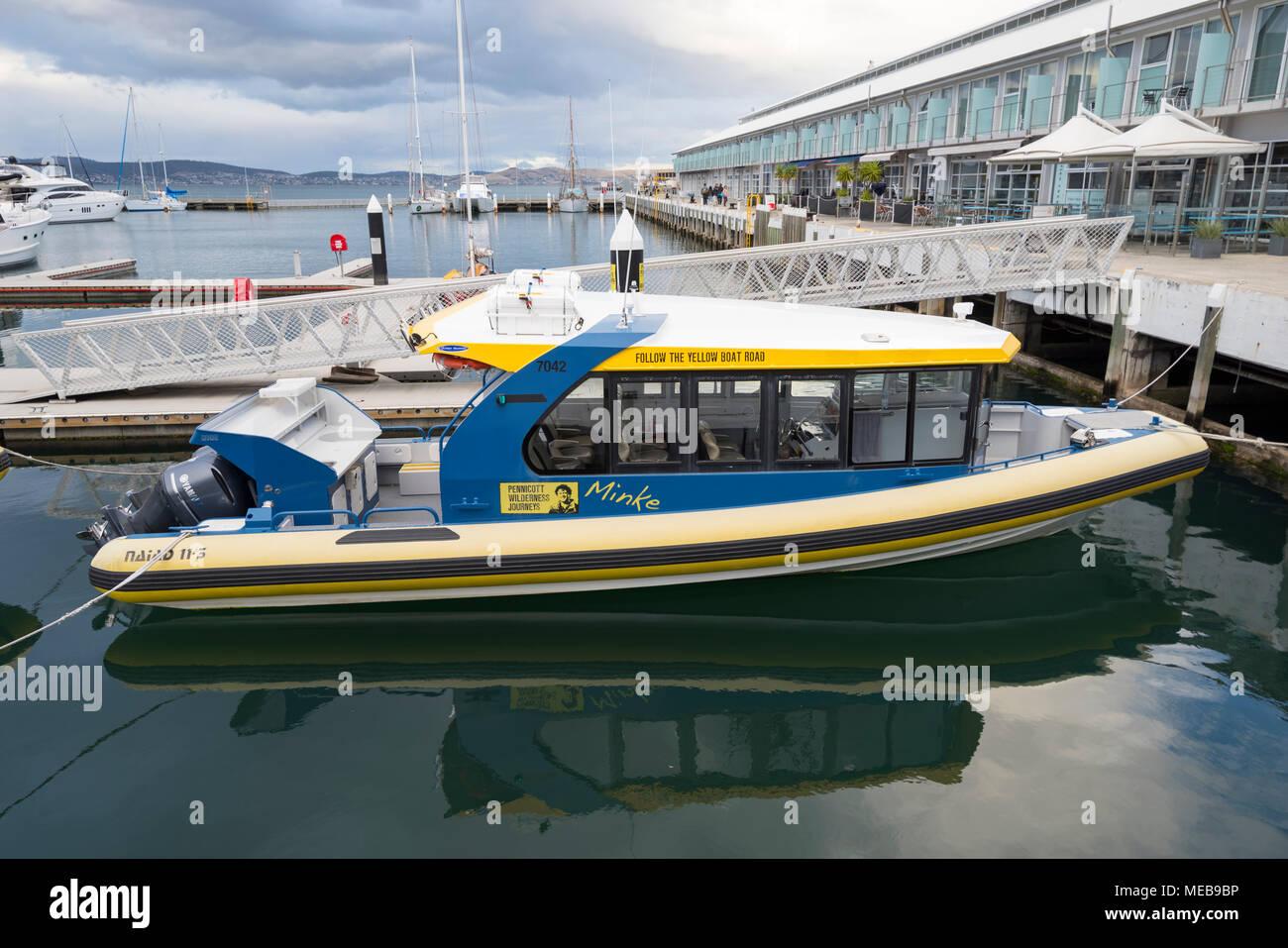 Pennicott WiIderness Journeys boat Minke docked at Hobart - Stock Image