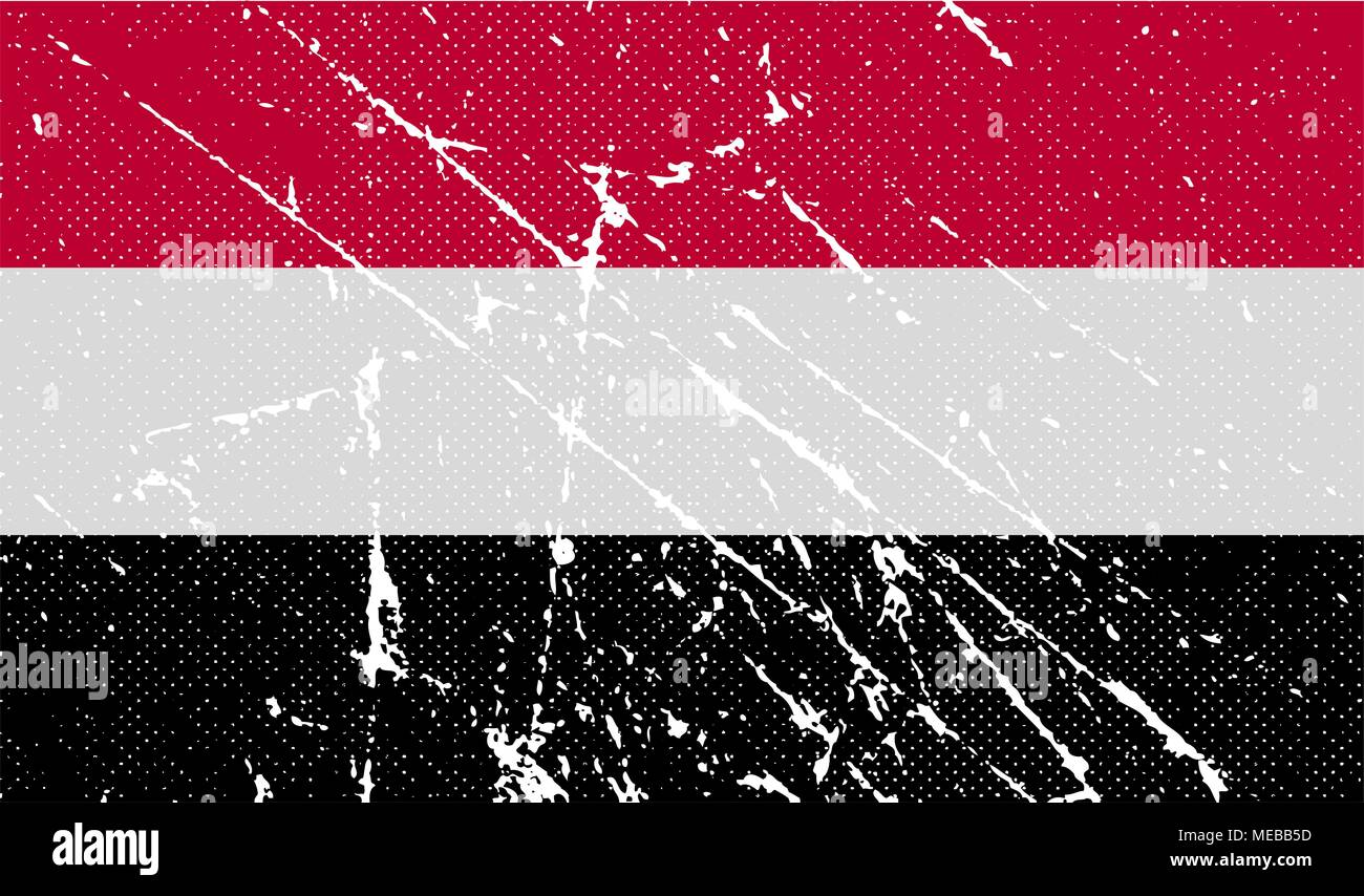 Flag of Yemen with old texture. Vector illustration - Stock Vector