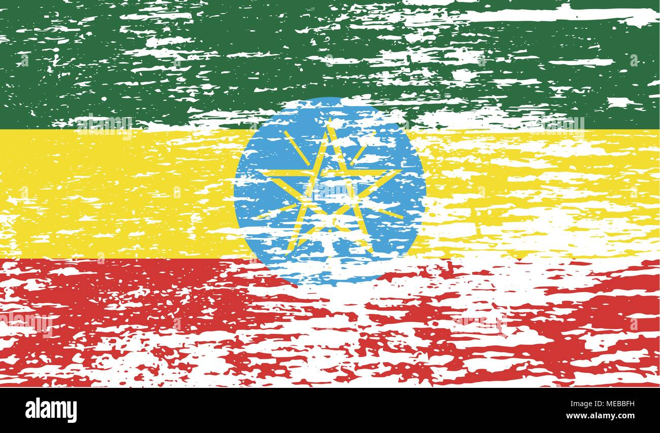 Flag of Ethiopia with old texture. Vector illustration - Stock Vector