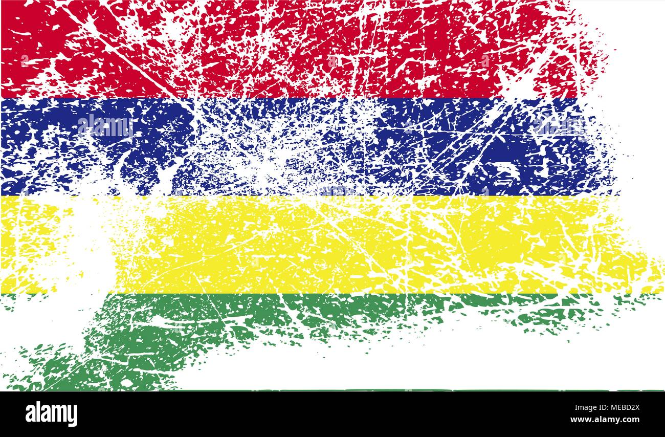 Flag of Mauritius with old texture. Vector illustration Stock Vector