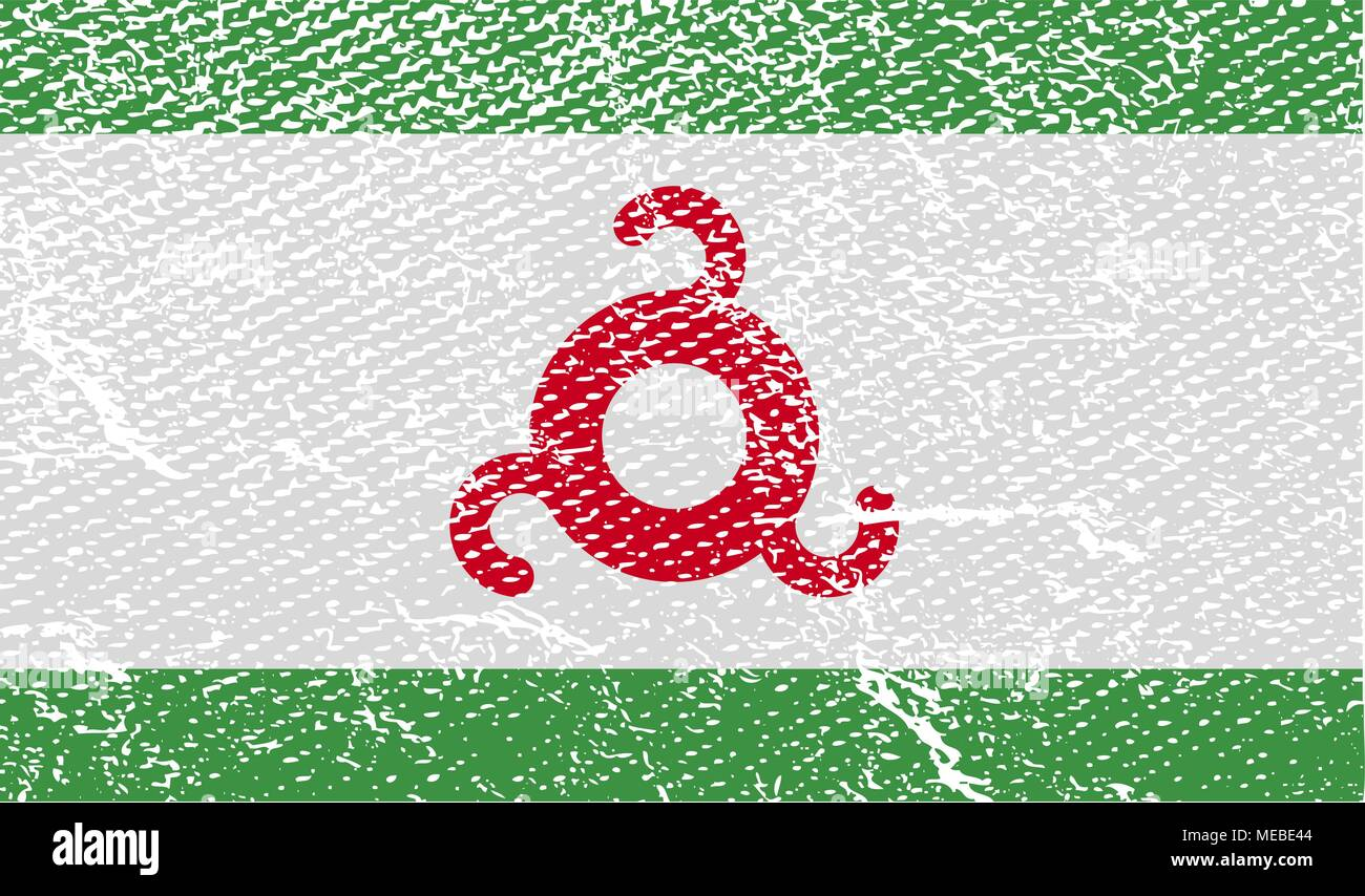 Flag of Ingushetia with old texture. Vector illustration - Stock Image