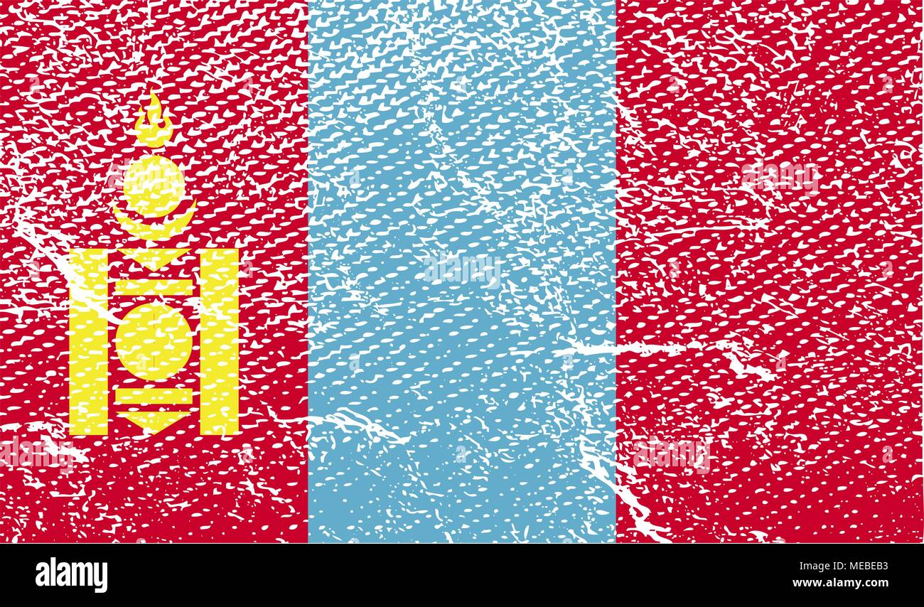 Flag of Mongolia with old texture. Vector illustration - Stock Vector