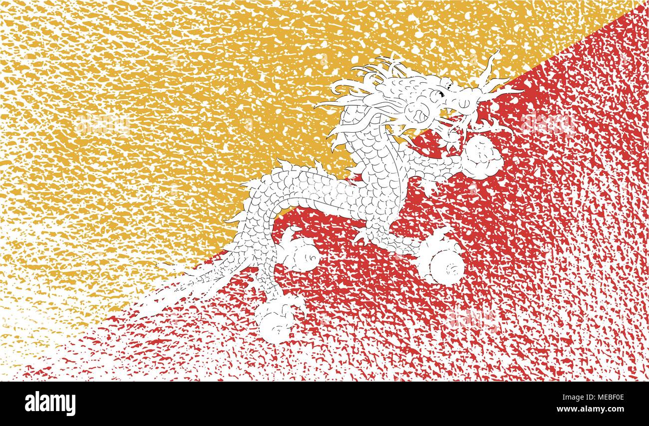 Flag of Bhutan with old texture. Vector illustration - Stock Vector