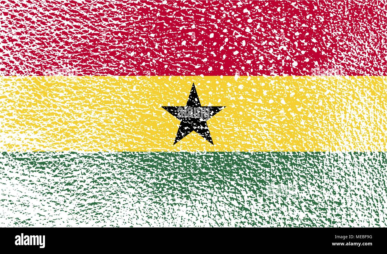 Flag of Ghana with old texture. Vector illustration - Stock Vector
