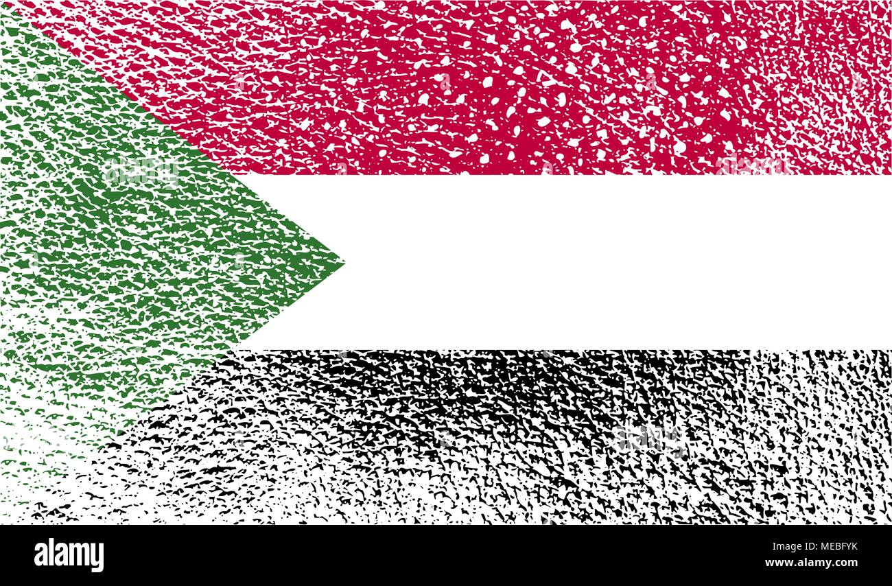 Flag of Sudan with old texture. Vector illustration - Stock Vector