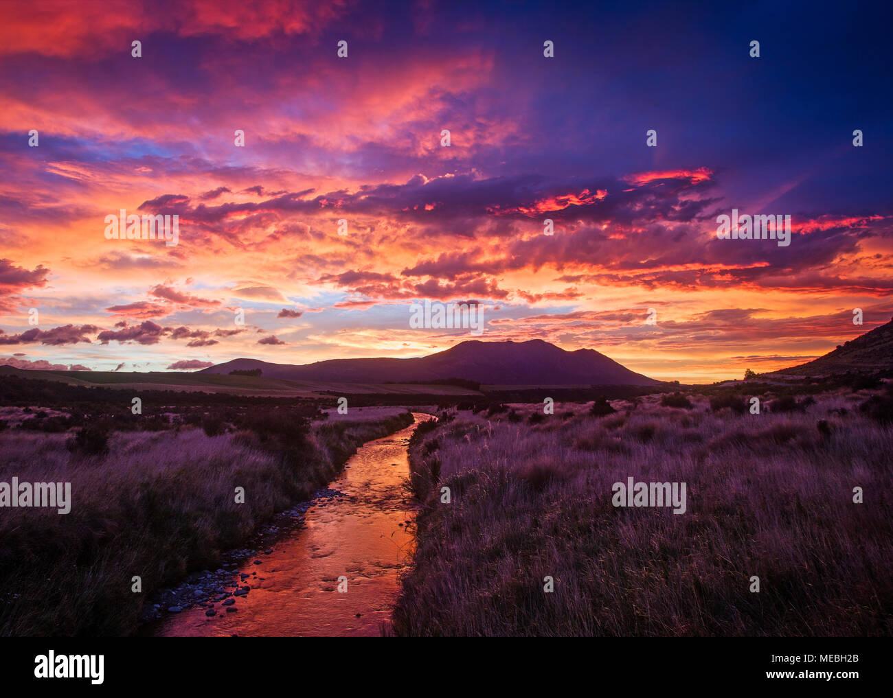 Sunrise over Southland , South Island, New Zealand. - Stock Image