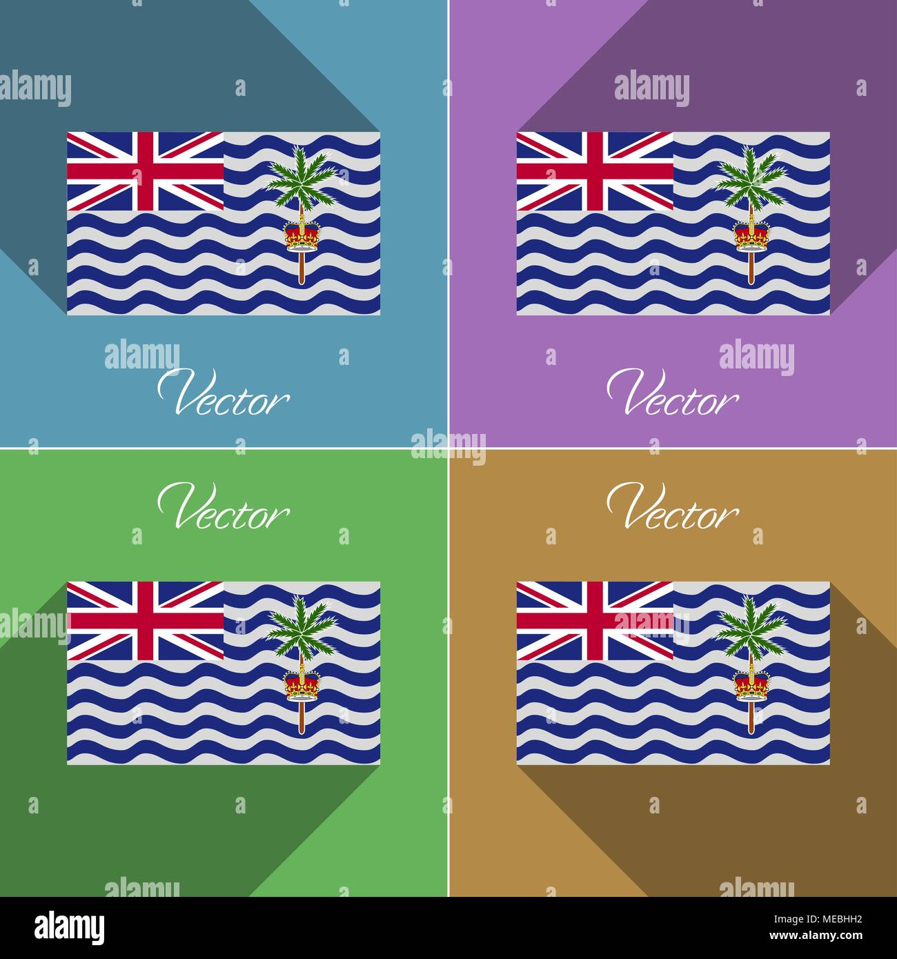 Flags of British Indian Ocean Territory. Set of colors flat design and long shadows. Vector illustration - Stock Vector