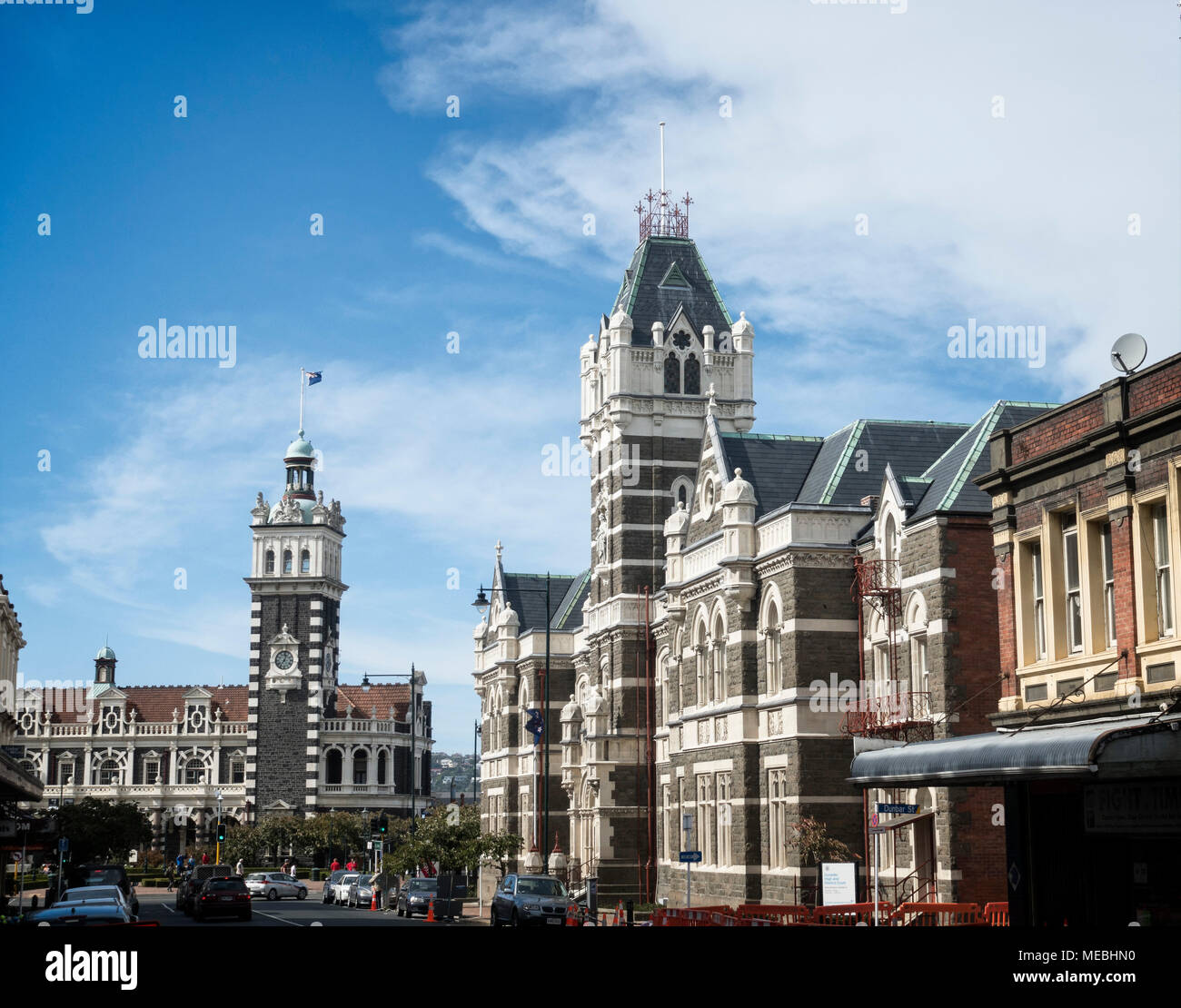 The Department for Courts and train station, Dunedin, South Island, New Zealand. - Stock Image