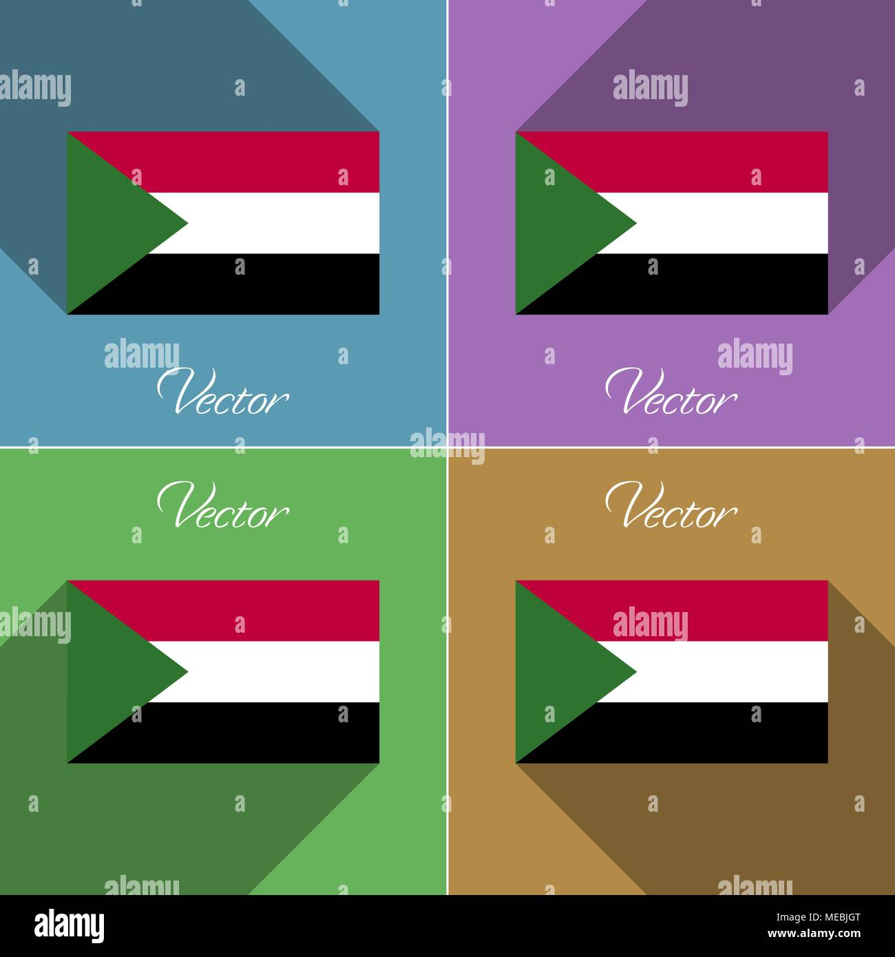 Flags of Sudan. Set of colors flat design and long shadows. Vector illustration - Stock Vector