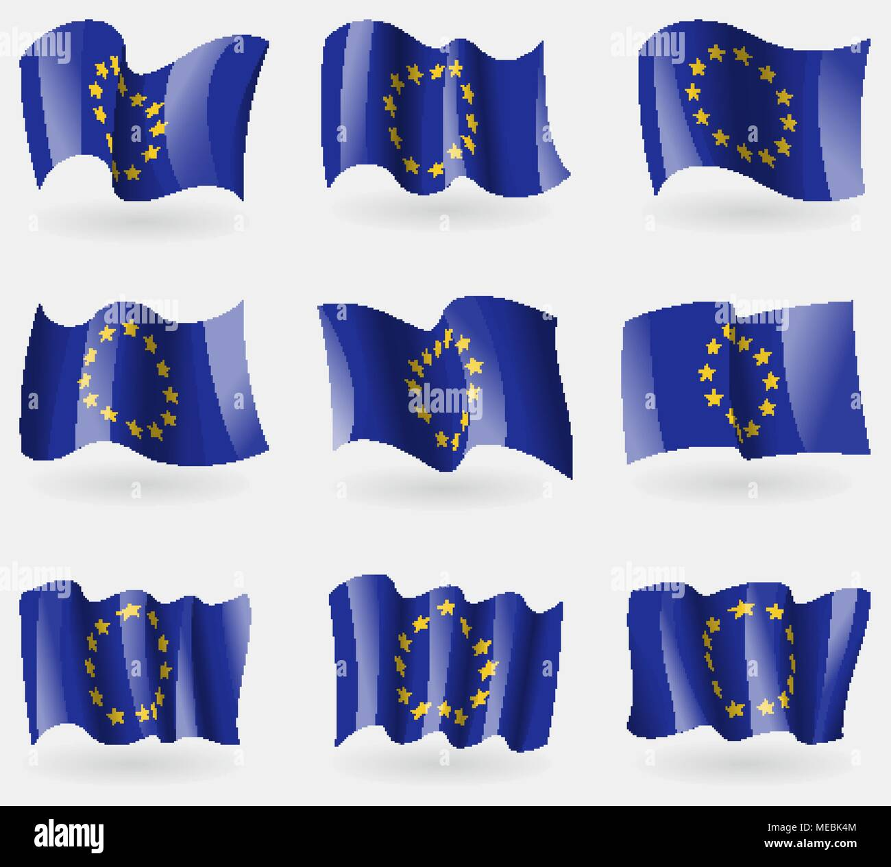 Set of European Union flags in the air. Vector illustration - Stock Image