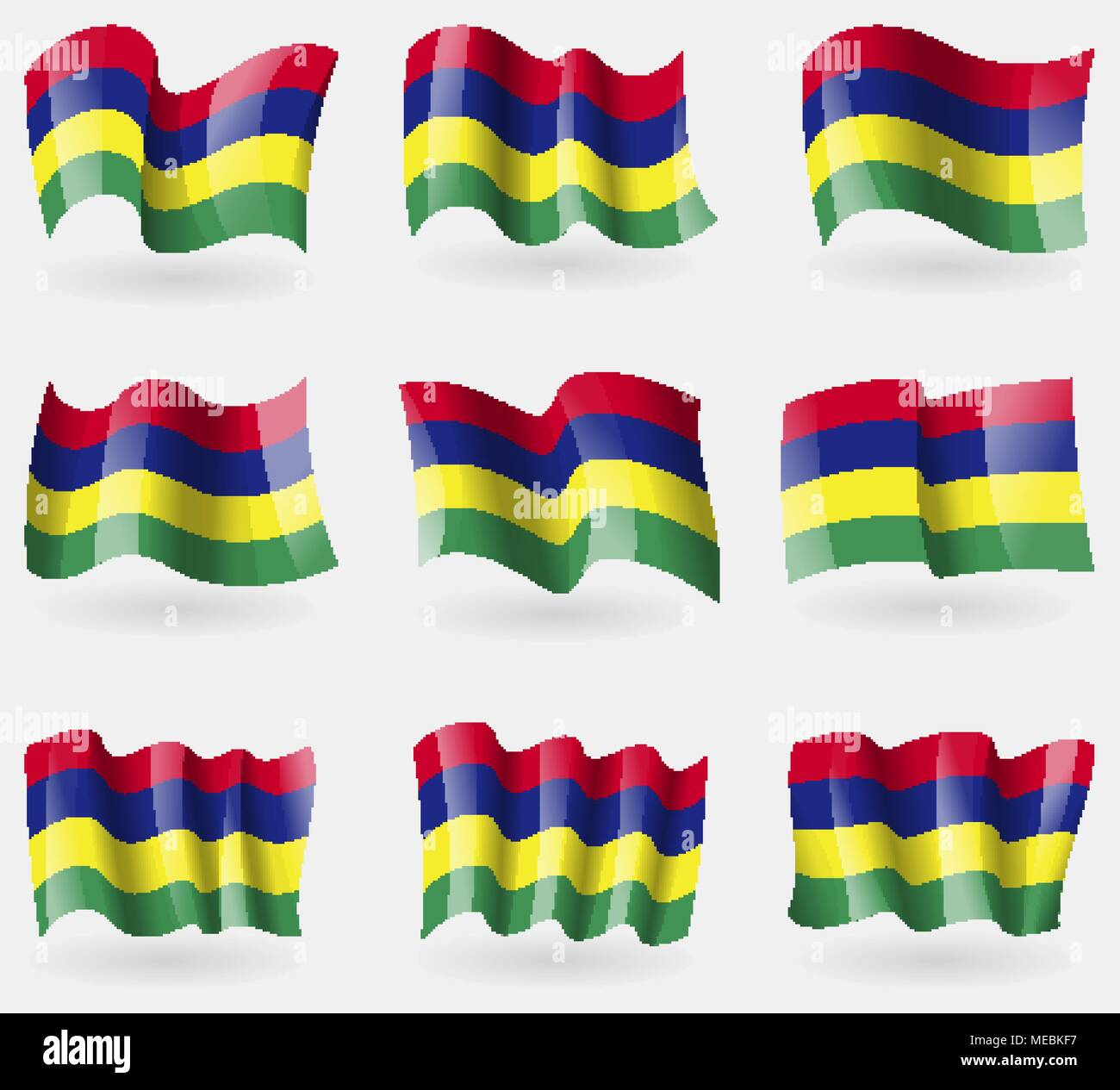 Set of Mauritius flags in the air. Vector illustration Stock Vector