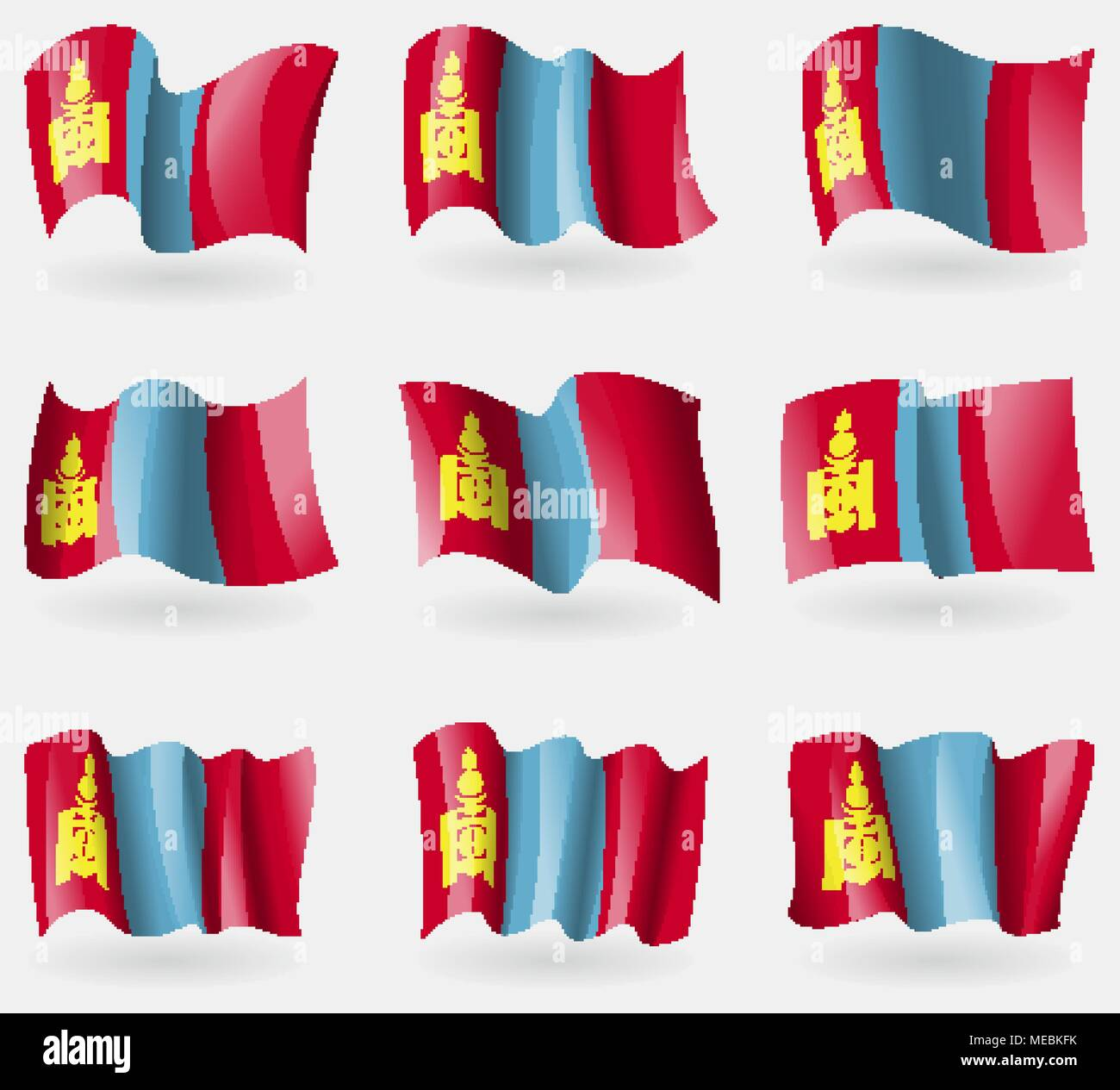 Set of Mongolia flags in the air. Vector illustration - Stock Vector