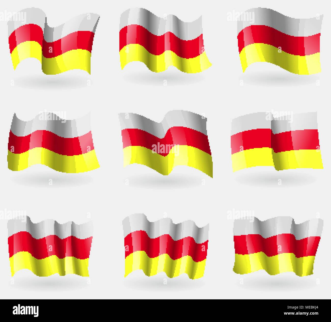 Set of North Ossetia flags in the air. Vector illustration - Stock Image
