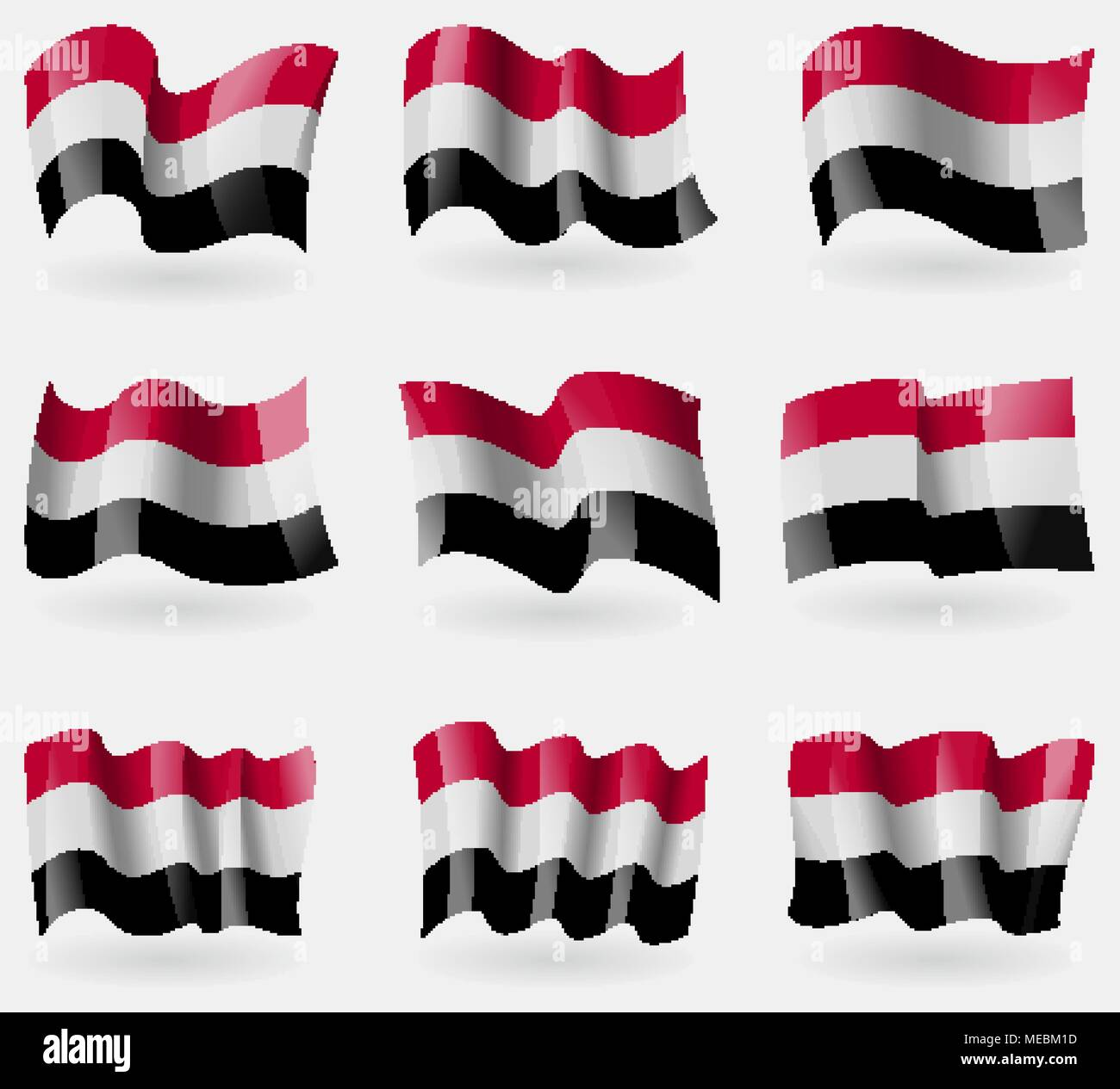 Set of Yemen flags in the air. Vector illustration - Stock Vector