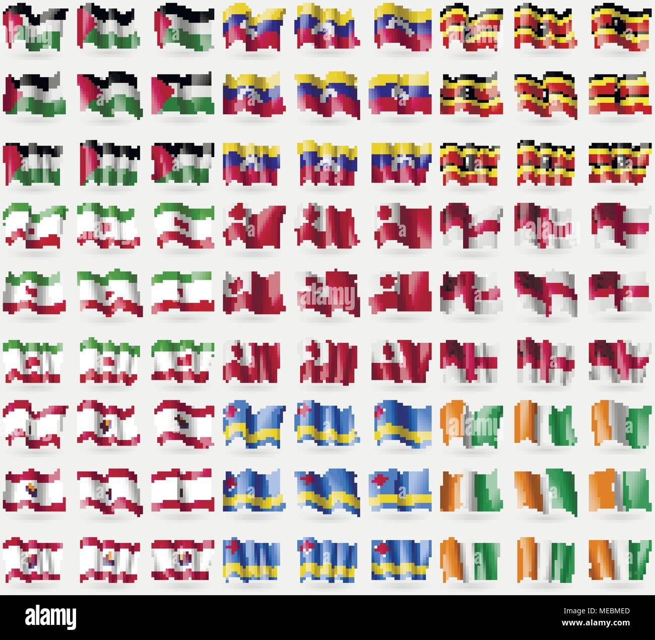 Palestine, Venezuela, Uganda, Iran, Tonga, Sark, French Polynesia, Aruba, Core d'ivoire. Big set of 81 flags. Vector illustration - Stock Vector