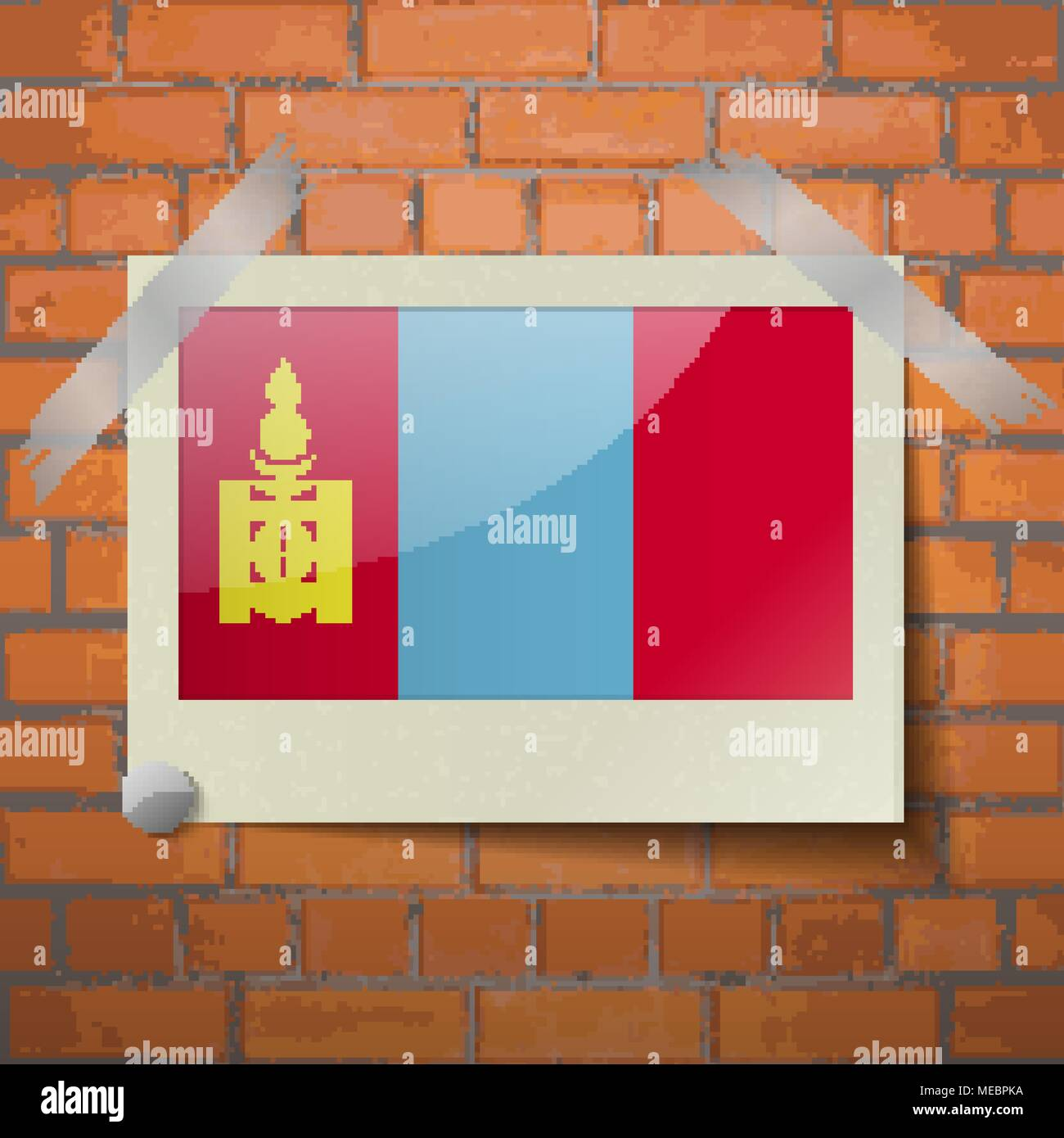 Flags of Mongolia scotch taped to a red brick wall. Vector - Stock Vector