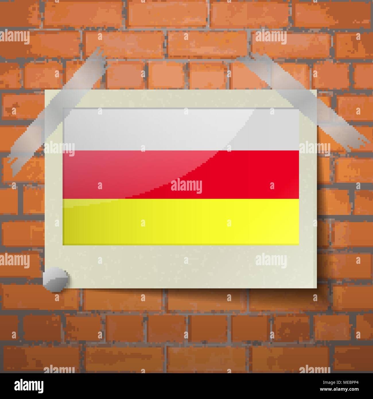 Flags of North Ossetia scotch taped to a red brick wall. Vector - Stock Image