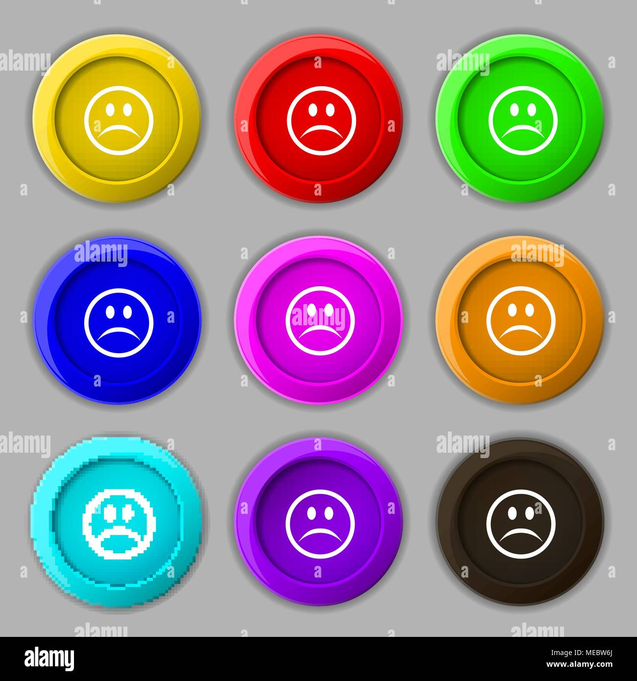 Sad face, Sadness depression icon sign. symbol on nine round colourful buttons. Vector illustration - Stock Vector