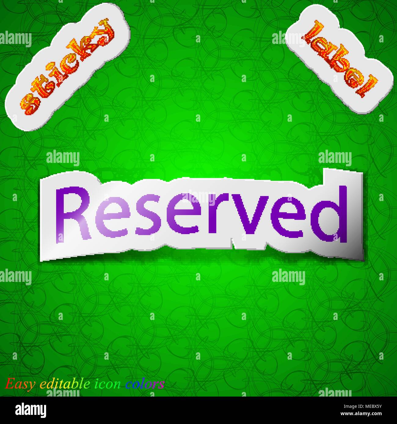 Reserved icon sign. Symbol chic colored sticky label on green background. Vector illustration - Stock Image