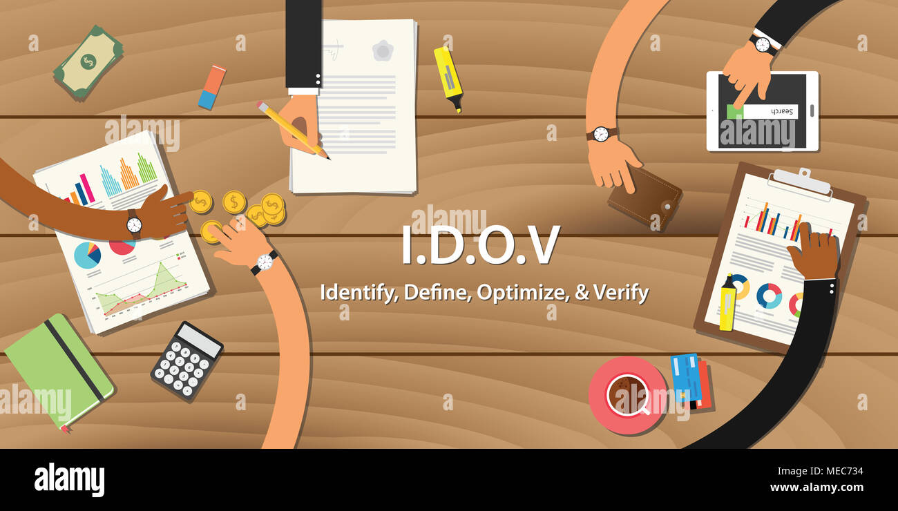 idov identify define optimize verify business illustration with ...