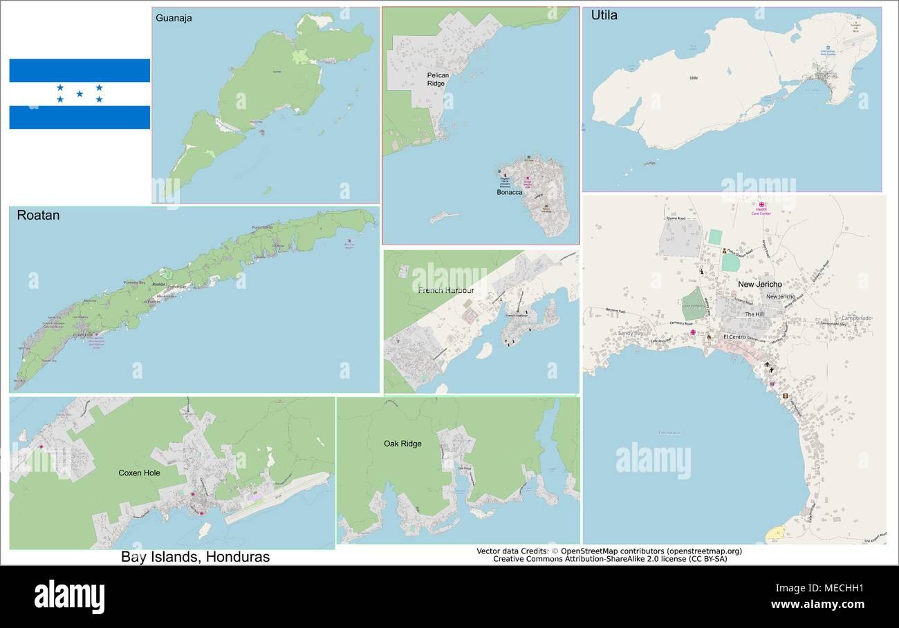 Honduras Bay Islands Roatan Utila Guanaja - Stock Vector