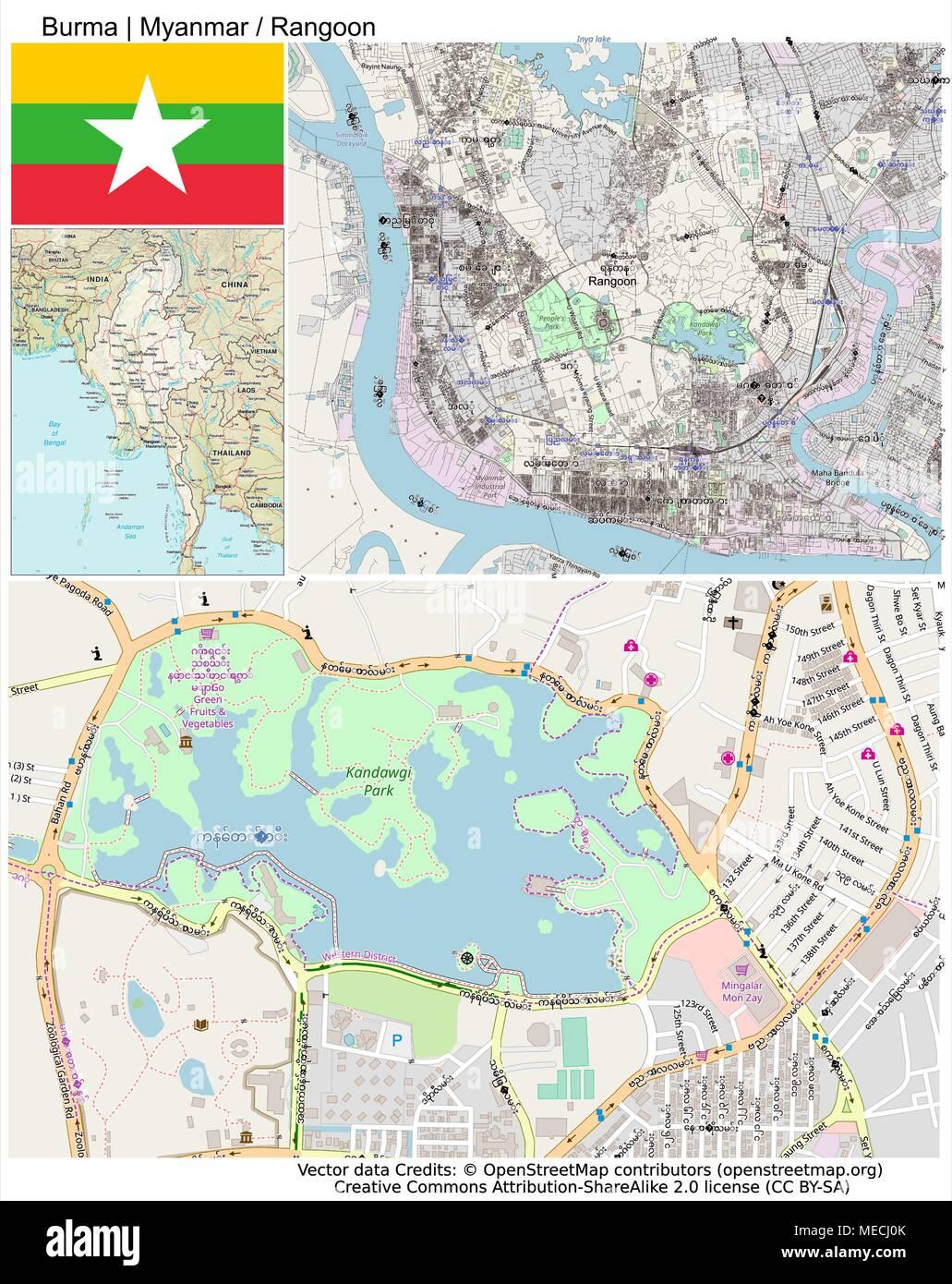 Burma Myanmar Bay of Bengal Rangoon  Naypyidaw - Stock Vector