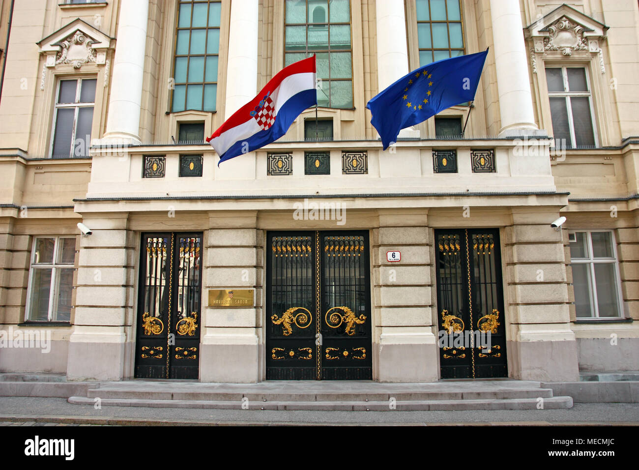 Entrance to the Croatian Parliament with Flags of European Union and Croatia - Stock Image