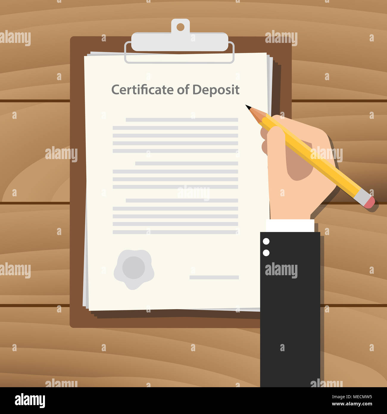 Certificate Of Deposit Illustration Concept With Hand Business Man
