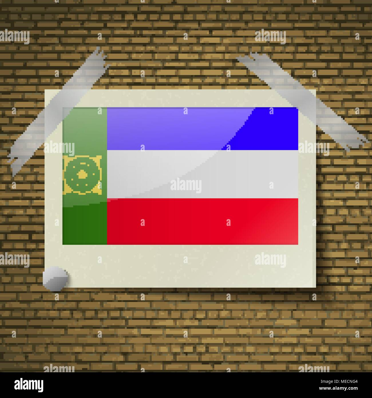 Flags of Khakassia at frame on a brick background. Vector illustration - Stock Image