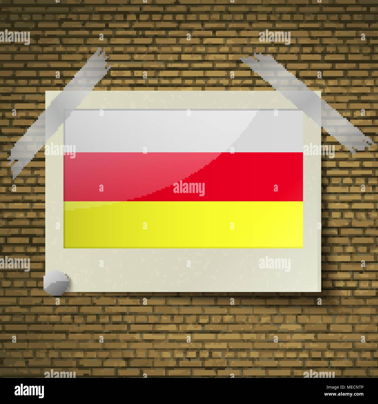 Flags of North Ossetia at frame on a brick background. Vector illustration - Stock Image